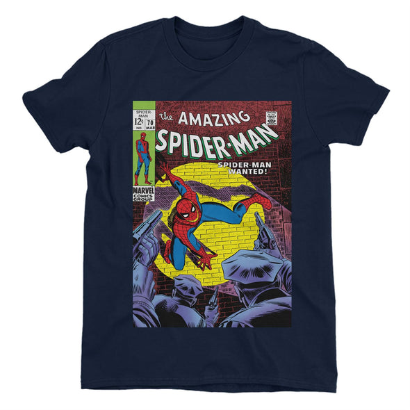 Spiderman Wanted Comic Book Cover Children's Unisex Navy T-Shirt