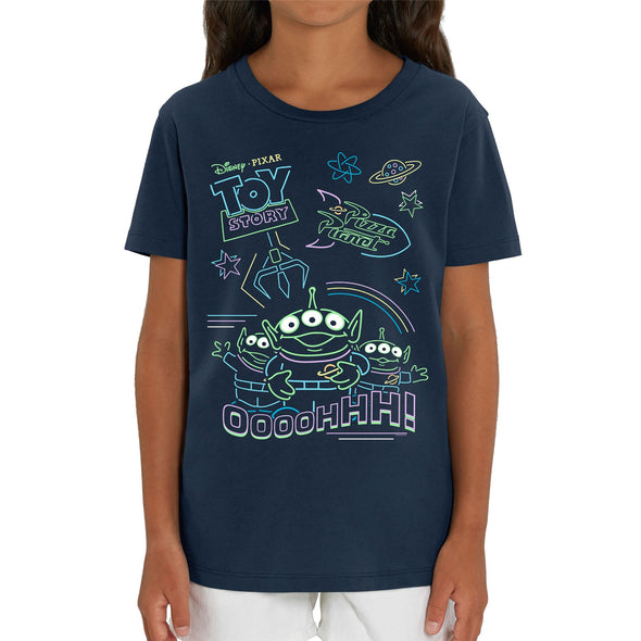 Disney Toy Story 4 Neon Little Green Men Children's Unisex Navy T-Shirt