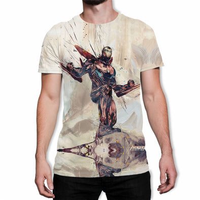 Avengers Infinity War Iron Man Battle Stance White Men's T-Shirt