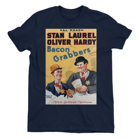Laurel & Hardy Bacon Grabbers Ladies Navy T-Shirt