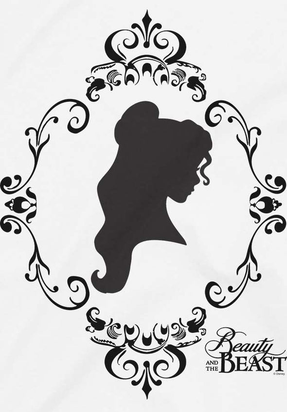 Disney Beauty & The Beast Rose Silhouette Ladies White T-Shirt