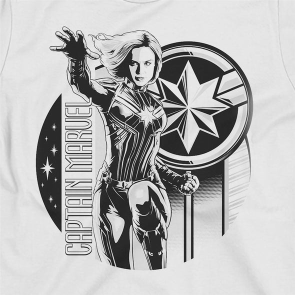 Captain Marvel Black & White Carol Danvers Children's Unisex White T-Shirt