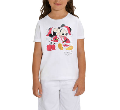 Disney Mickey and Minnie Mouse Christmas Children's Unisex White T-Shirt