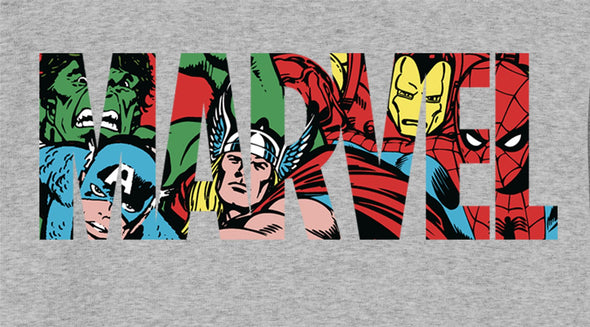 Marvel Comics Classic Logo Ladies Grey T-Shirt