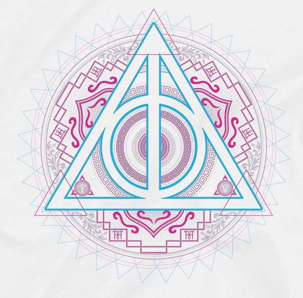 Harry Potter Deathly Hallows Neon Symbol Ladies White T-Shirt
