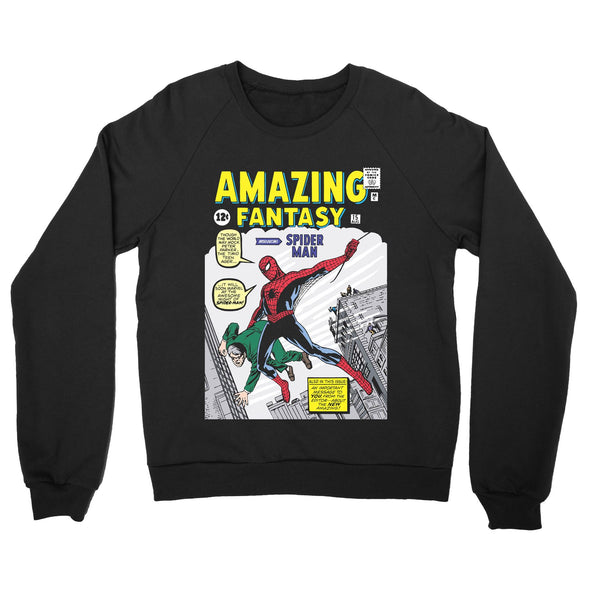 Spiderman Amazing Fantasy Comic Book Adults Unisex Black Sweatshirt