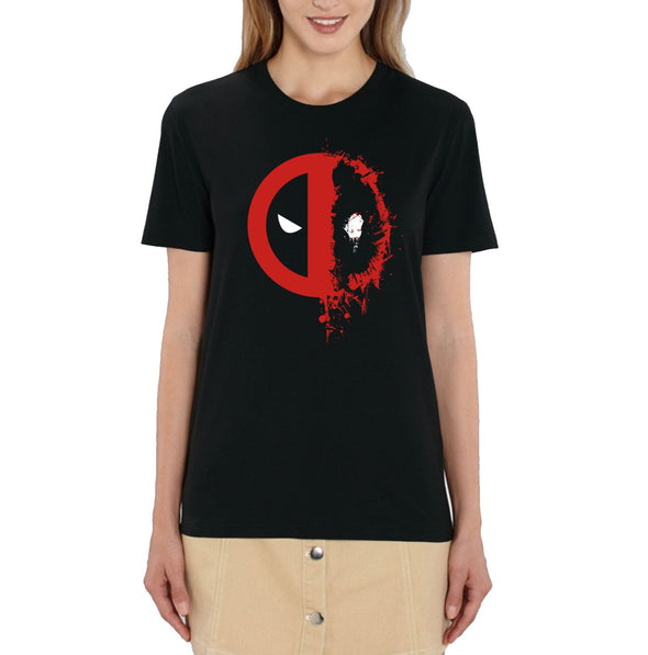 Deadpool Splat Logo Ladies Black T-Shirt