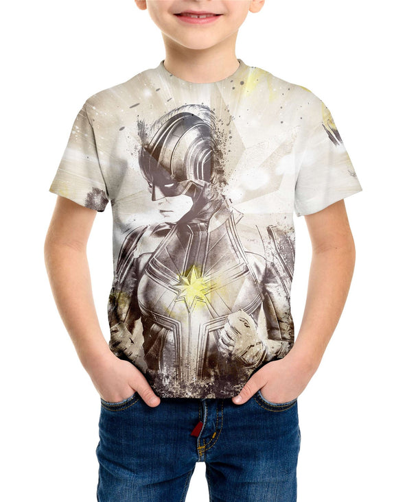 Captain Marvel Battle Stance Children's Unisex Sublimation White T-Shirt