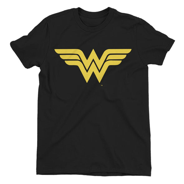 Wonder Woman Classic Gold Logo Ladies Black T-Shirt