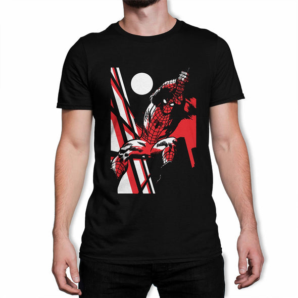 Spiderman Moonlight Swing Men's Black T-Shirt