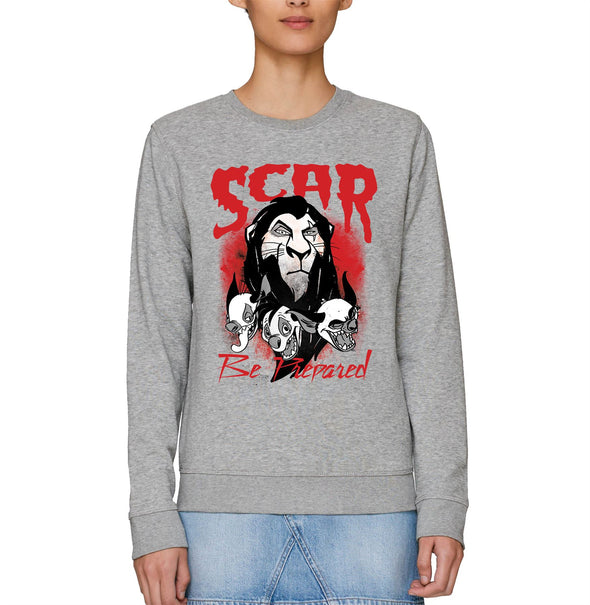 The Lion King Scar Be Prepared Adults Unisex Grey Sweatshirt