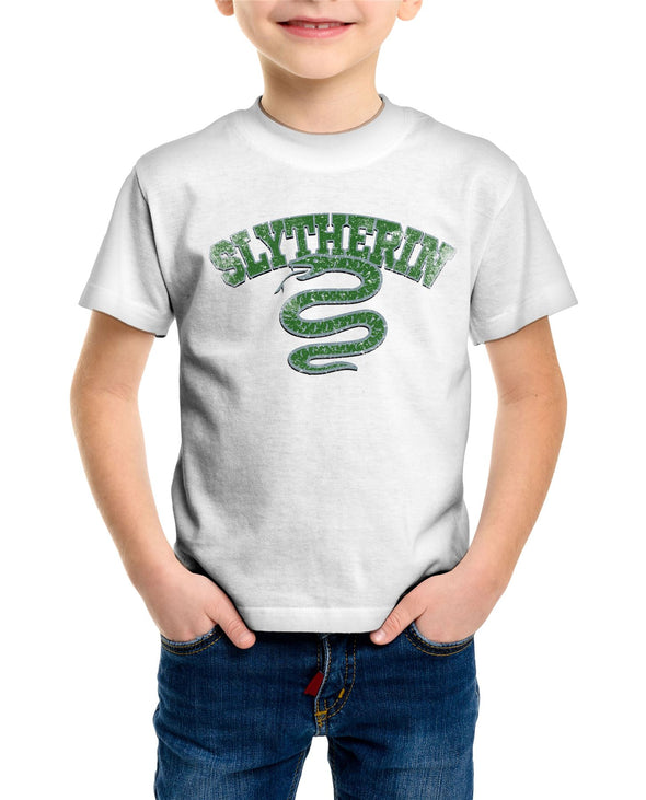 Harry Potter Distressed Slytherin Snake Children's Unisex White T-Shirt