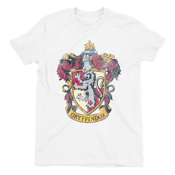 Harry Potter Distressed Gryffindor Crest Men's White T-Shirt