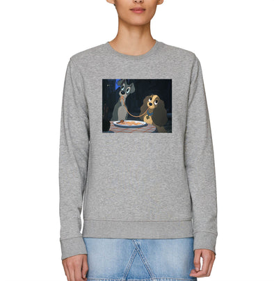 Disney Classic Lady & The Tramp Dinner Pose Adults Unisex Grey Sweatshirt