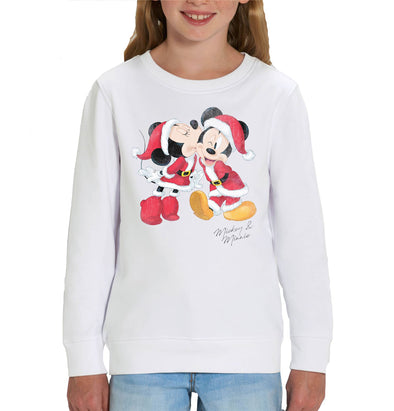 Disney Mickey and Minnie Mouse Christmas Children's Unisex White Sweatshirt
