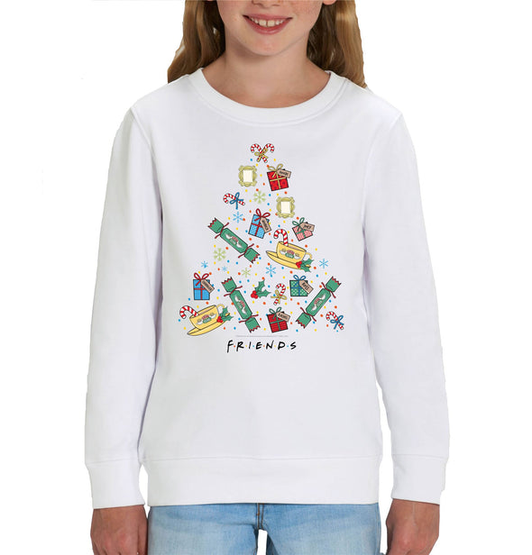 Friends Christmas Tree Children's Unisex White Sweatshirt