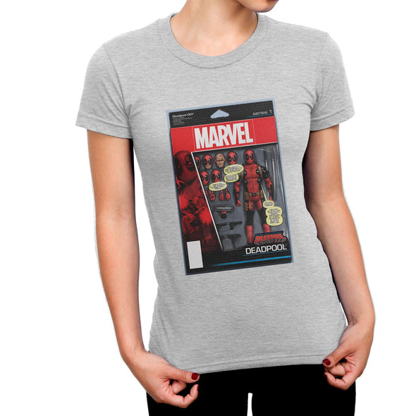 Deadpool Figure Ladies Grey T-Shirt