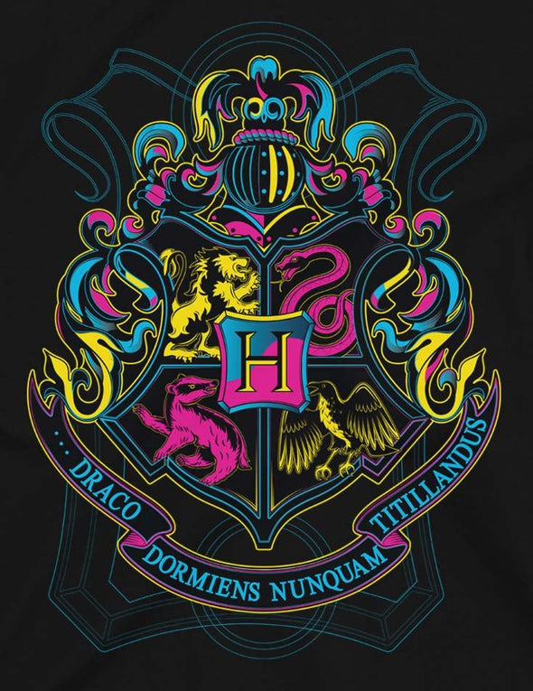Harry Potter Neon Hogwarts Crest Ladies Black T-Shirt