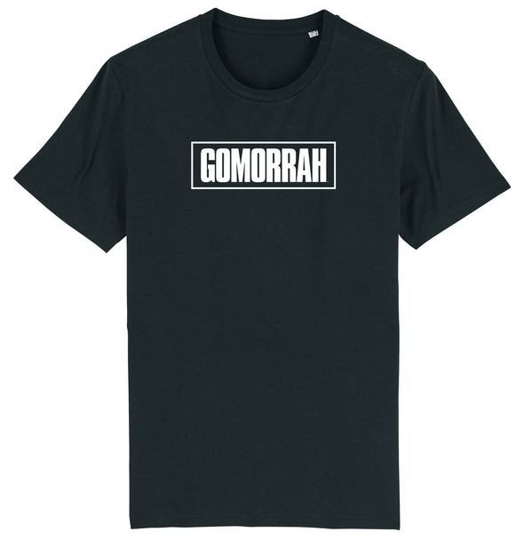 Official Gomorrah White Boxed Logo Print Men's Black T-Shirt