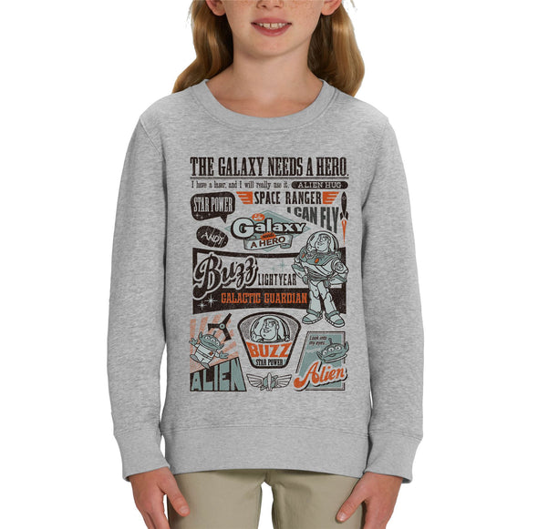 Toy Story Buzz Lightyear The Galaxy Needs A Hero Children's Unisex Grey Sweatshirt