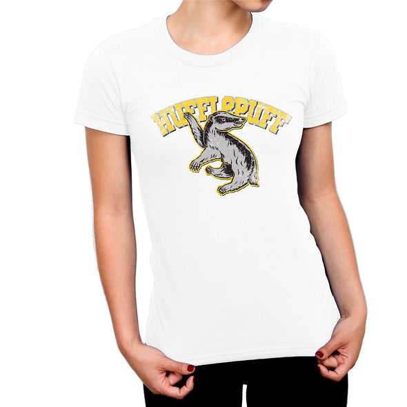 Harry Potter Distressed Hufflepuff Badger Ladies White T-Shirt