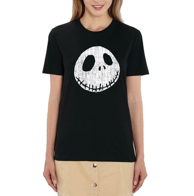 Nightmare Before Christmas Jack Cracked Face Ladies Black T-Shirt