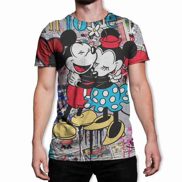 Disney Mickey And Minnie Mouse Hug Love Collage Men's T-Shirt