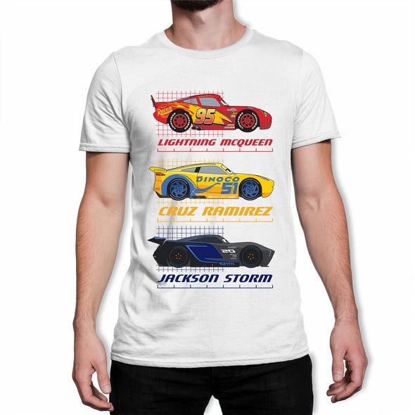 Disney Pixar Cars Top Three Racers Men's White T-Shirt