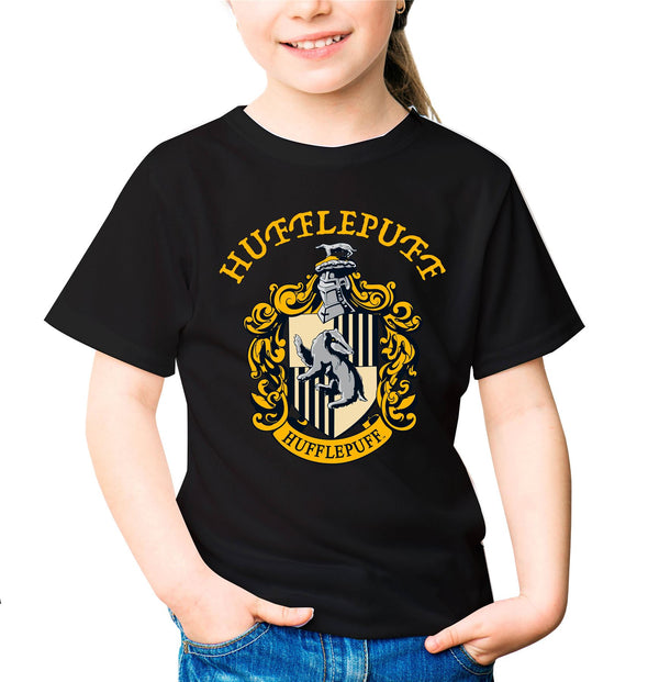 Harry Potter Hufflepuff Logo & Crest Children's Unisex Black T-Shirt