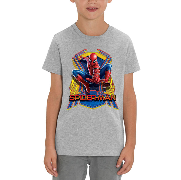 Marvel Spider-Man Far From Home Jump Children's Unisex Grey T-Shirt