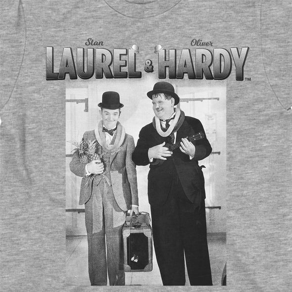 Stan Laurel & Oliver Hardy Classic Pineapple & Ukulele Children's Grey T-Shirt