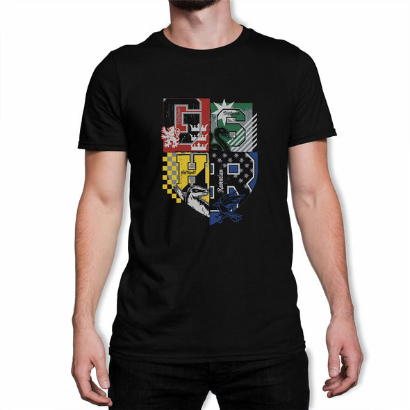 Harry Potter Hogwarts Varsity House Crest Adults Unisex Black Sweatshirt