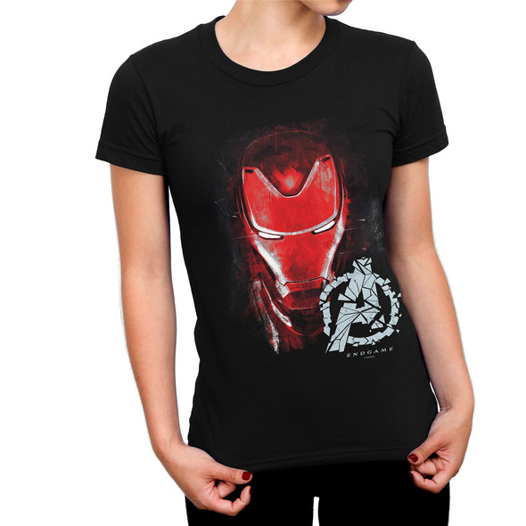 Avengers Endgame Iron Man Brushed Ladies Black T-Shirt