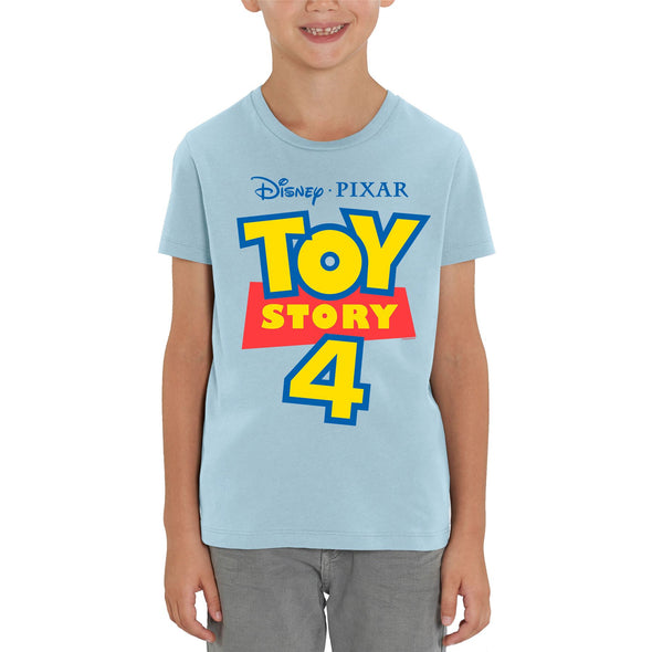 Disney Toy Story 4 Classic Movie Logo Children's Unisex Light Blue T-Shirt