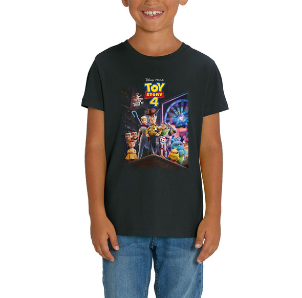 Disney Toy Story 4 Classic Movie Poster Children's Unisex Black T-Shirt