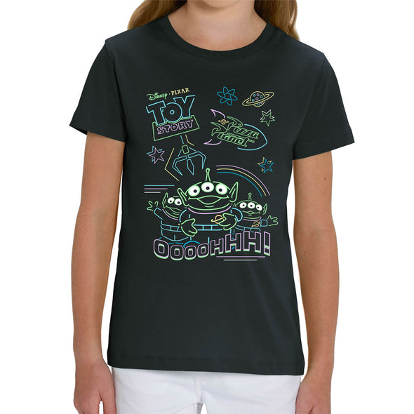 Disney Toy Story 4 Neon Little Green Men Children's Unisex Black T-Shirt