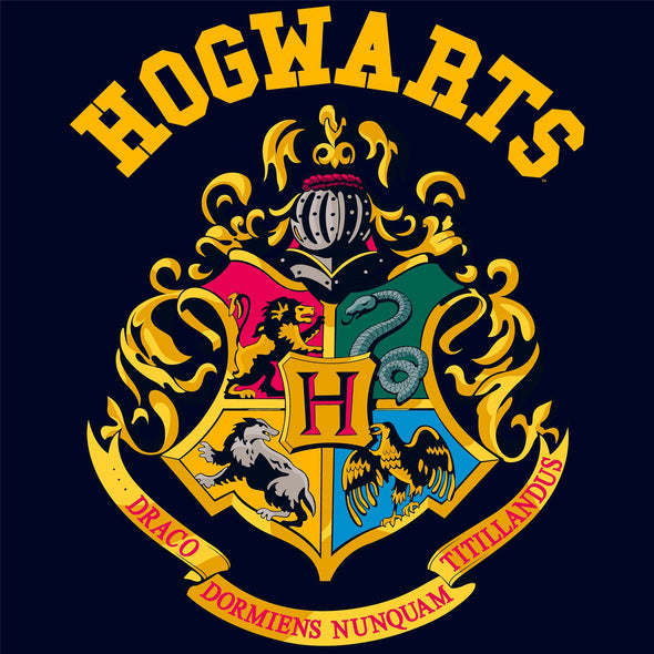 Harry Potter Hogwarts School Crest Children's Unisex Navy Short Sleeved T-Shirt