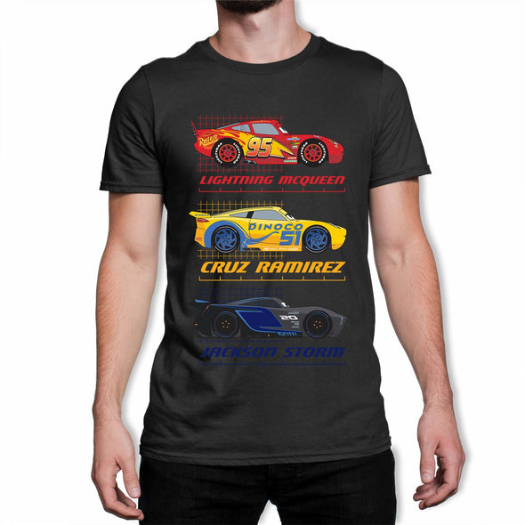 Disney Pixar Cars Top Three Racers Men's Black T-Shirt