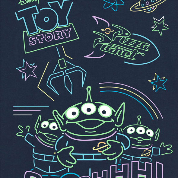 Disney Toy Story 4 Neon Little Green Men Ladies Navy T-Shirt