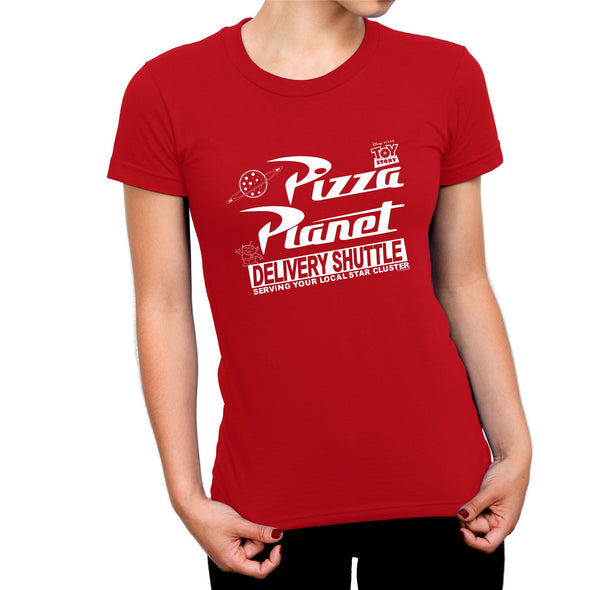 Toy Story Planet Pizza Ladies Red T-Shirt