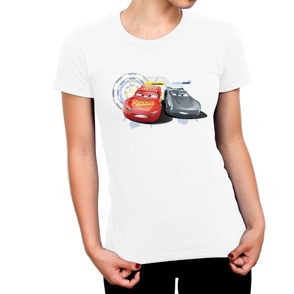 Disney Pixar Cars Lightning vs. Storm Ladies White T-Shirt