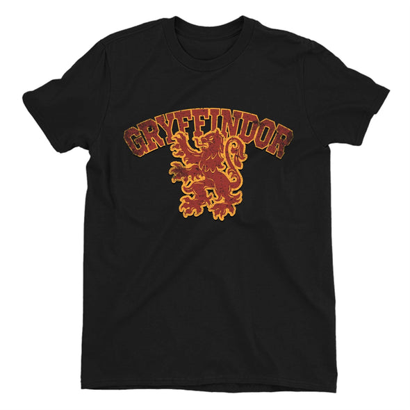 Harry Potter Distressed Gryffindor Lion Men's Black T-Shirt