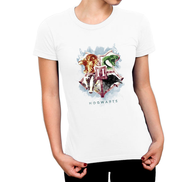 Harry Potter Painted Animal  Hogwarts Crest Ladies White T-Shirt