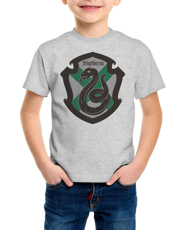 Harry Potter Slytherin Crest Grey Children's Unisex T-Shirt