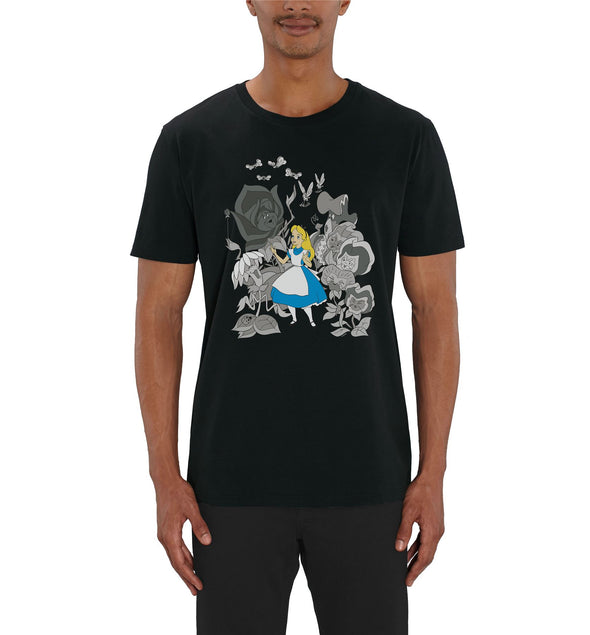 Alice In Wonderland Black & White Flowers Men's Black T-Shirt