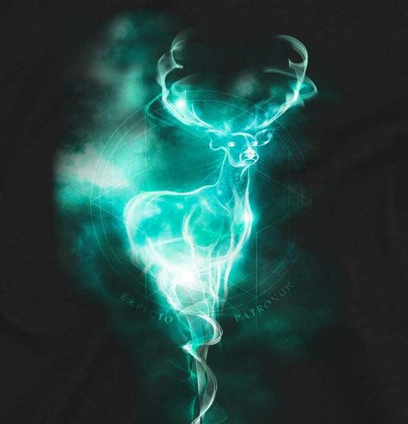 Harry Potter Stag Neon Children's Unisex Black T-Shirt