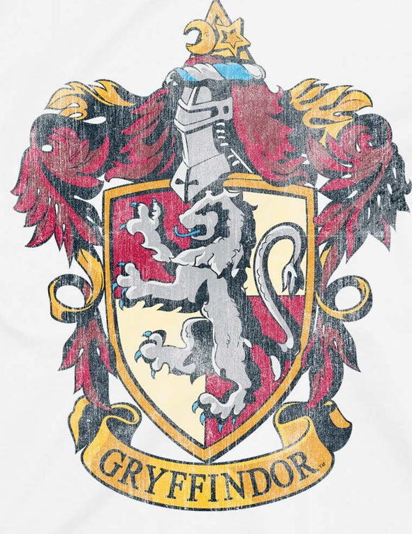 Harry Potter Distressed Gryffindor Crest Children's Unisex White T-Shirt