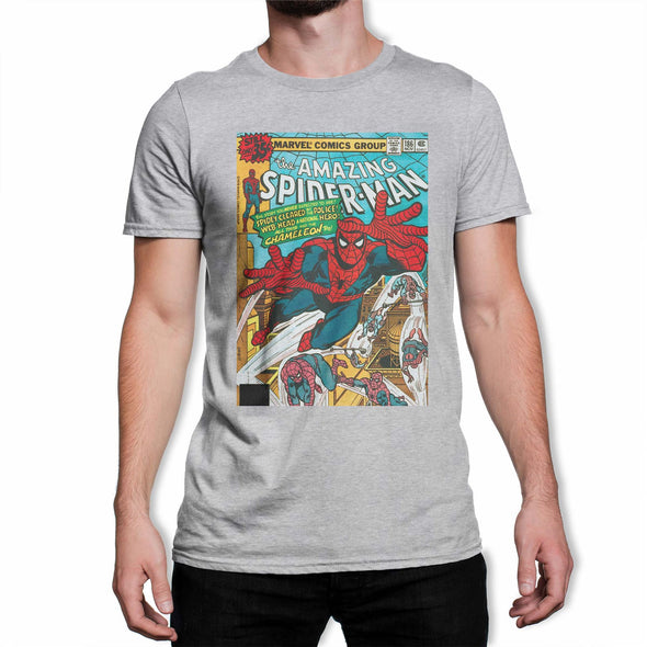 Spiderman The Amazing Spiderman Marvel Comic Book Cover Men's Grey T-Shirt