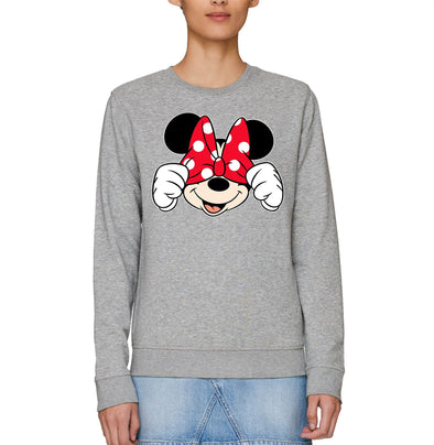 Disney Minnie Mouse Cover Eyes With Bow Adults Unisex Grey Sweatshirt
