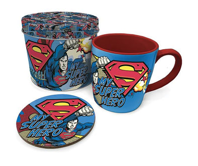 Superman My Superhero Tin Gift Set | Includes Matching Mug & Coaster